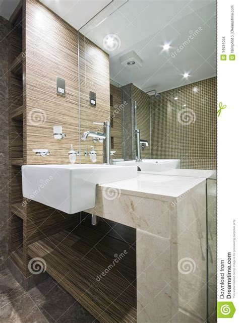 Detail Of A Marble Bathroom With Mosaic Tiles Stock Photo