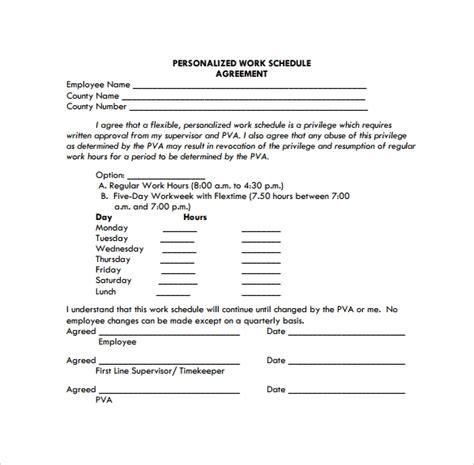 work schedule template    documents