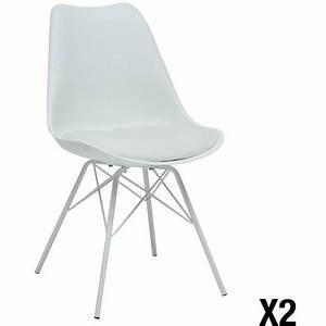 Chaise Scandinave Pied Metal : lot de 2 chaises scandinave maho pieds m tal pas cher prix auchan ~ Teatrodelosmanantiales.com Idées de Décoration