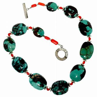 Turquoise Necklace Clasp Oval Beads Inch Natural