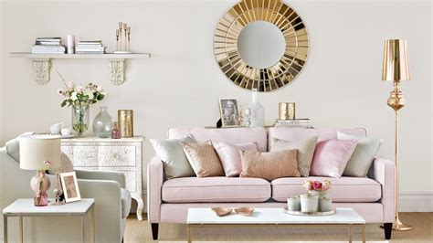 Neutral Living Room with Rose Gold and Pink Accents The