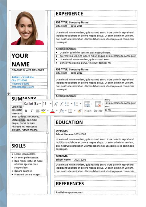 The Table On Resume by Dalston Newsletter Resume Template