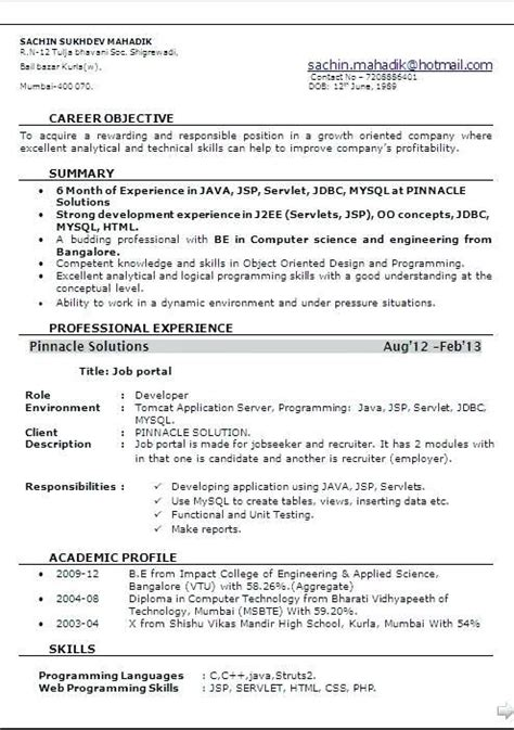 Sle Of A Resume Format by Resume Format For 6 Months Experienced Software Engineer