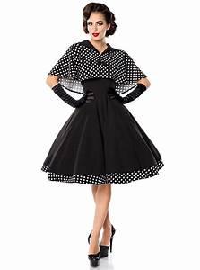 Robe Retro Année 50 : robe cape retro rockabilly pin up ann es 50 belsira black white dots ~ Nature-et-papiers.com Idées de Décoration