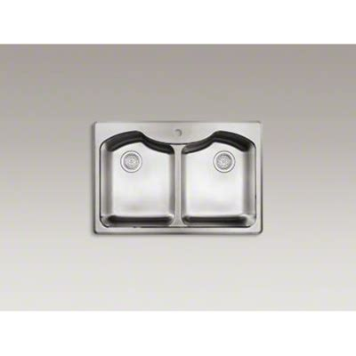 kohler stainless steel sink and faucet package kohler 33 quot x 22 quot x 9 5 16 quot top mount double equal