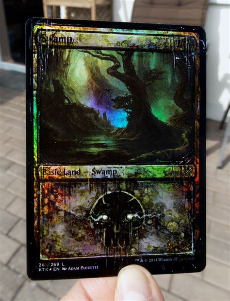 Big solid (light) color backgrounds just pop! Some distressed and very shiny foil lands I did... - Custom art for your MTG cards