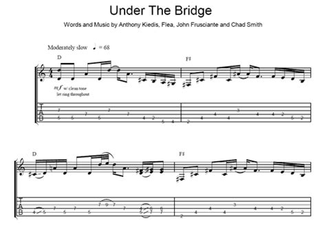 under the bridge red hot chili peppers sheet music