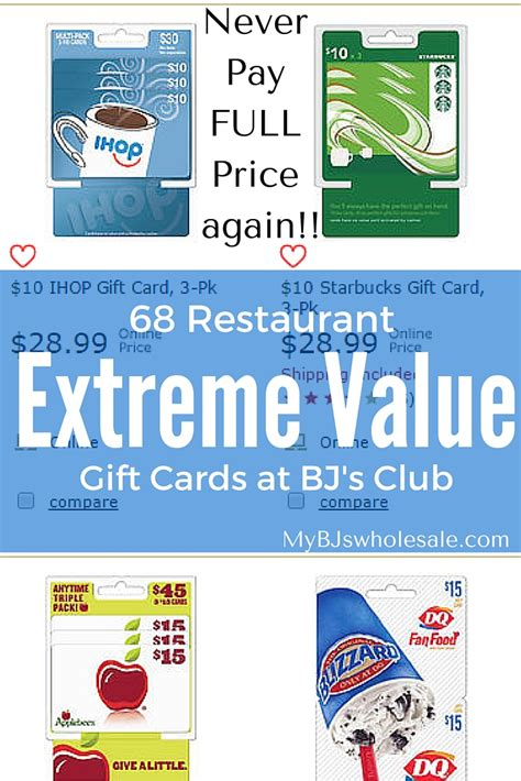 Bj's gift cards make perfect gifts for holidays, anniversaries, birthdays or any special occasion. 68 Restaurant Gift Cards you can buy for less then Face Value at BJs