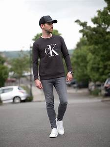 Calvin Klein Sweatshirt And J Brand Grey Skinny Jeans Outfit | Your Average Guy