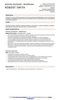activity assistant resume sles qwikresume