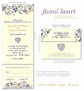 unique wedding invitations plantable paper floral heart by With wedding invitation time format