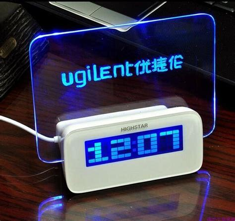 pcslot fluorescent message board alarm clock  led electronic digital luminous desk alarm