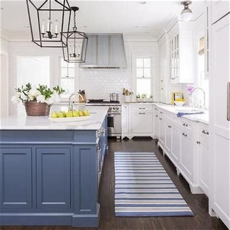 benjamin colors for kitchen blue kitchen island with blue striped runner https www 7631