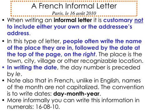 french informal letter paris le  aout