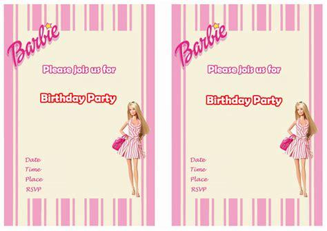 barbie birthday invitations birthday printable