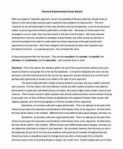 Classical Argument Essay essay about peace and order mfa creative writing rankings 6 traits of creative writing