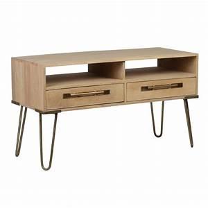 Meuble Tv Manguier : meuble tv en manguier massif 2 tiroirs 2 niches pieds pingle en m tal 99 5x40xh56cm pilat ~ Teatrodelosmanantiales.com Idées de Décoration