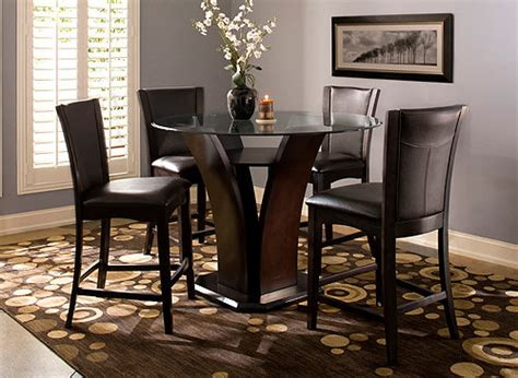 venice  pc  glass counter height dining set