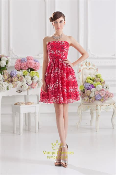 red sequin prom dress short red homecoming dresses