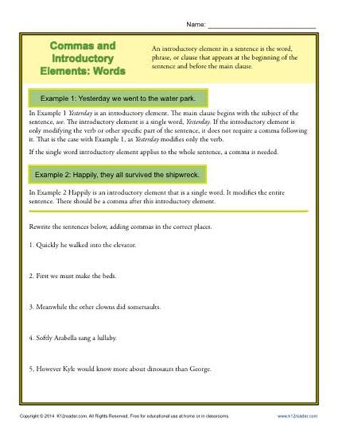 commas and introductory elements words punctuation