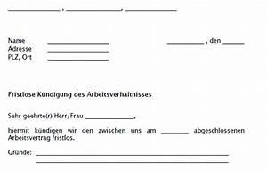 Gründe Für Fristlose Kündigung Mieter : fristlose k ndigung durch arbeitgeber muster zum download ~ Lizthompson.info Haus und Dekorationen