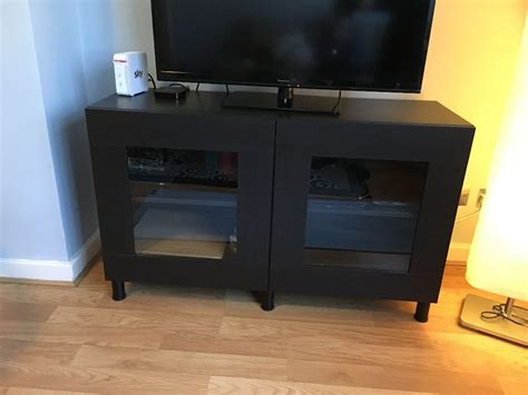 Ikea Besta Tv Stand With Glass Doors, Table, Entertainment