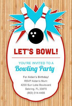 night  bowling printable invitation customize add