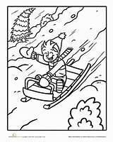 Sled Coloring Worksheet Sledding Pages Snow Winter Education Fun Worksheets Colouring Kindergarten Go Child Christmas Sheets Fast Drawings Going Surely sketch template