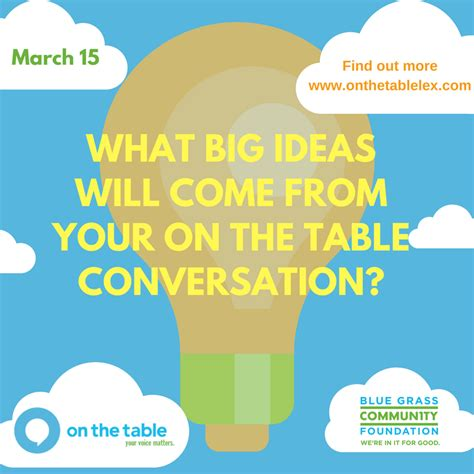 the table community foundation on the table initiative to spur community wide