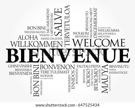 Bienvenue Welcome French Word Cloud Different Stock Vector ...