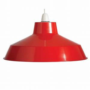 Retro style red pendant shade light fitting by country