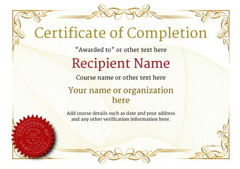 Certificate Of Completion Template Free by Certificate Of Completion Free Quality Printable