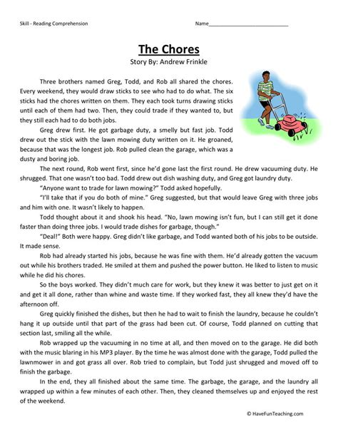 Reading Comprehension Worksheet  The Chores