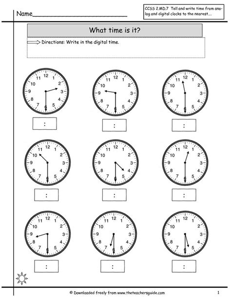 clock worksheets telling time  nearest  hour