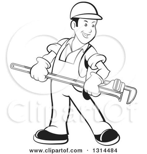 14785 plumber clipart black and white clipart of a happy black and white plumber in