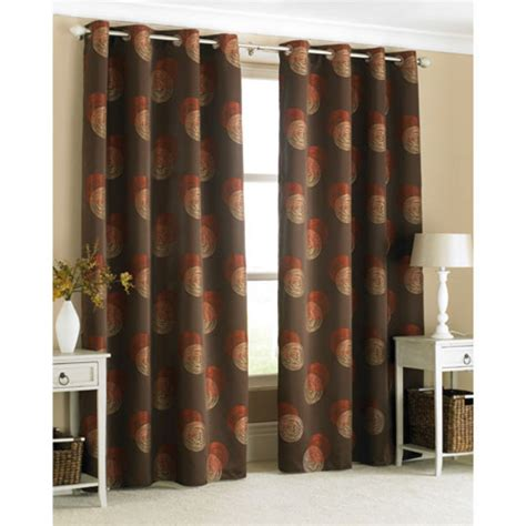 stylish ring top curtain pair spiro brown with orange