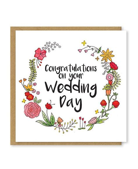 congratulations   wedding day  beautiful floral  card  wreath