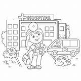 Coloring Doctor Nurse Children Hospital Profession Illustrations Clip Outline Cartoon Near Searches Related sketch template