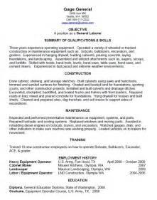 general labor resume summary exle general laborer resume sle resumes design