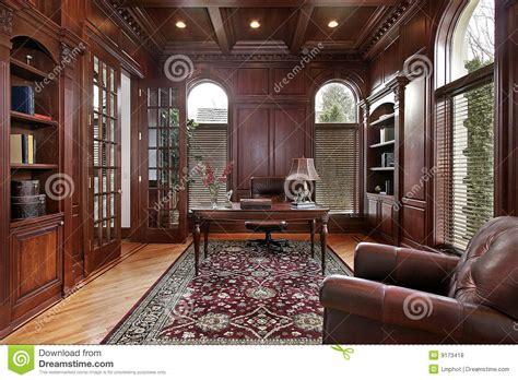 library  cherry wood paneling stock photo image