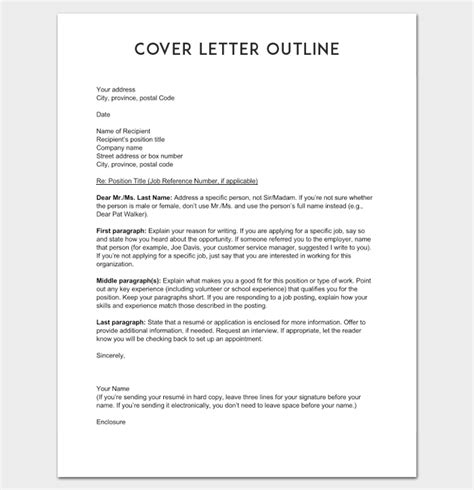Outline For A Cover Letter cover letter outline template 7 sles exles formats