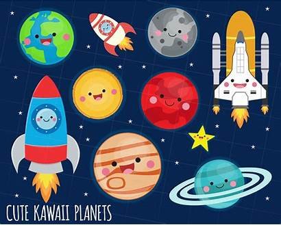 Solar Planets System Clipart Space Kawaii Graphics