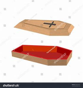 Open Coffin On White Background Lid Stock Vector 306492437
