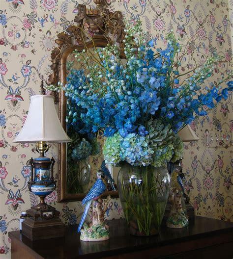 blue and silver flower arrangements blue the silver vase