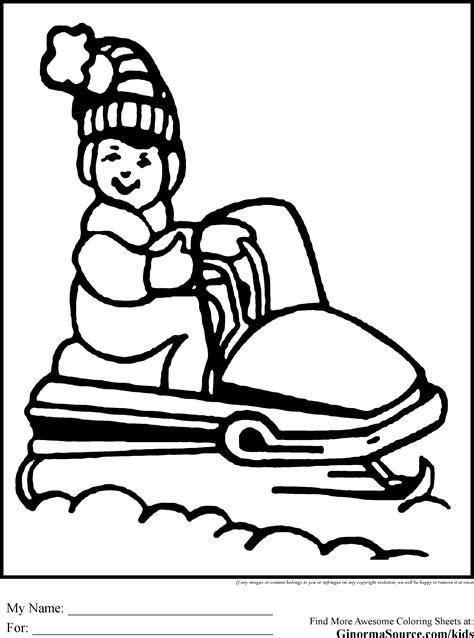 printable christmas coloring pages snowmobile