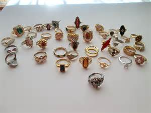 tiered serving stand large lot vintage avon jewelry costume rings 40 pieces