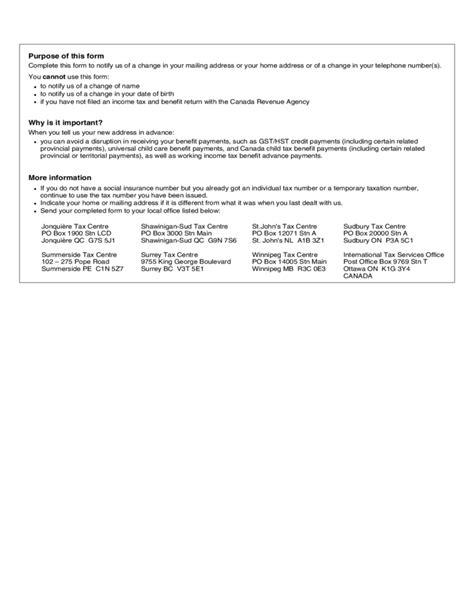sample cra change  address form