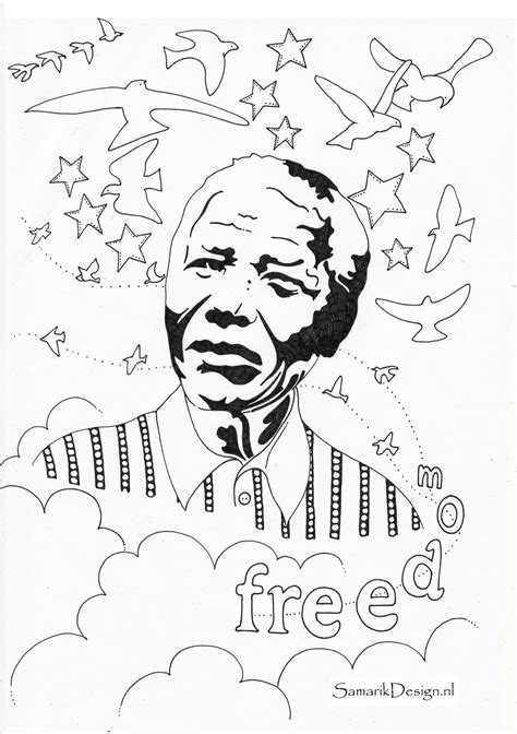 nelson mandela famous people coloring pages  print