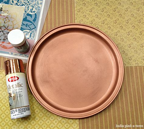 copper spray painted tray paint pattern