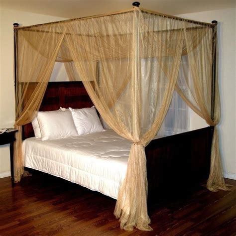 Gold Four 4 Post Bed Canopy Netting Curtains Sheer Panel